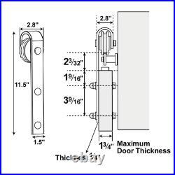 Flat-tip Black Steel Single-door 6.6 ft Sliding Track Door Hanging Hardware Kit
