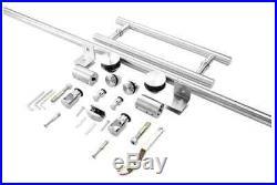 Frameless Sliding Shower Door Hardware Track Kit 8 FT / Brushed Stainless Steel