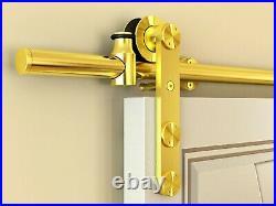 Geneva Gold Finish Sliding Barn Door Hardware for Wood Doors