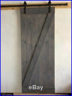 Gray BarnDoor PLUS 6.6ft sliding hardware kit! Rustic antique vintage farmhouse
