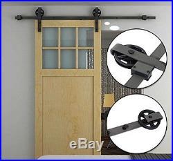 HOMCOM Modern Sliding Barn Door Closet Hardware Track Kit Track System Unit for