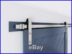Heavy Duty Brushed Nickel Sliding Barn Door Hardware Track Kit Slide Smoothly