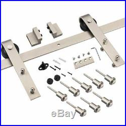 Heavy Duty Brushed Nickel Sliding Barn Door Hardware Track Kit Ultra Hard Sturdy