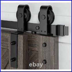 HomLux 5ft Bypass Sliding Barn Door Hardware Kit for Double Door, J Shape Hanger