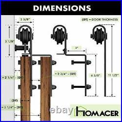 Homacer Black Rustic Single Track Bypass Sliding Barn Door Hardware Kit, for 5ft