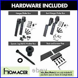 Homacer Black Rustic Single Track Bypass Sliding Barn Door Hardware Kit for T