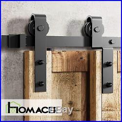 Homacer Sliding Barn Door Hardware Single Track Bypass Double Door Kit, 5FT Flat