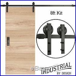INDUSTRIAL BY DESIGN 8ft Single Sliding Barn Door Hardware Kit Ultra Quie