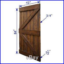 Interior Barn Door Slab Hardware Kit 42 in. X 84 in. Wood Sliding Dark Walnut