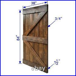 Interior Barn Door Slab Knotty Pine Wood Solid Core Rustic Planks Dark walnut