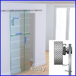 Interior Sliding Barn Door Hardware Track Frosted Glass Room Divider Modern