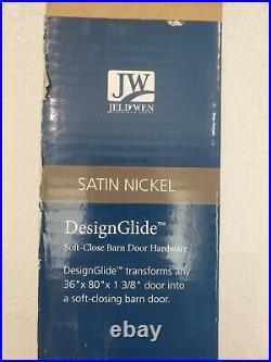 Jeld Wen 80x36 in. DesignGlide Satin Nickel Soft-Close Barn Door Sliding Door