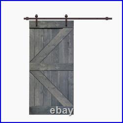 K Series 42 In. X 84 In. Gray Knotty Pine Wood Interior Sliding Barn Door