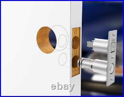 Keyed Pocket Sliding Door Lock Pull Handle Heavy Duty Durable Satin Matte Silver