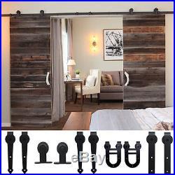LOT 8FT 10FT 12FT Sliding Barn Wood Door Hardware Closet Set Black Dark Coffee J