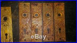 Lot Antique Door Knobs Plates Pocket Sliding Pulls Victorian Vintage Hardware