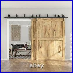 Low Ceiling Heavy Duty Sliding Barn Door Hardware Double Track Bypass 7.5FT