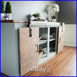 Mini Sliding Barn Door Hardware Black Steel For Cabinet Cupboard TV Stand Set