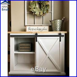 Mini Sliding Barn Door Hardware Closet Cabinet Cupboard TV Stand Rail Roller Kit