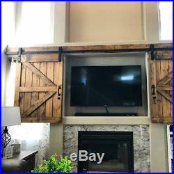 Mini Sliding Double Barn Door Hardware TV Stand Closet Cabinet door Rail J-Shape