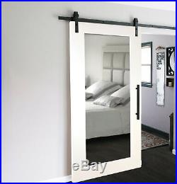 Mirror MDF Sliding Barn Door with Mirror Insert + Hardware