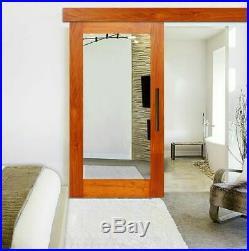 Mirrored Handcrafted Solid Oak Wood Sliding Barn Door with Mirror + Hardware