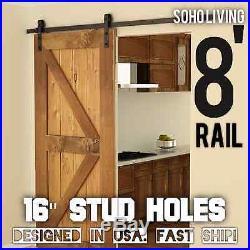 Modern European Style Steel Wood Sliding Barn Door Hardware Set 8 Feet 8' 96