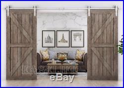 Modern Nickel Gray Surface Sliding Barn Door Hardware Double Door Kit