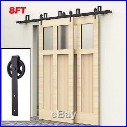 New 8FT Bypass Sliding Barn Wood Double Doors Hardware Track Kit Set Spoke Wheel