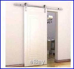 New Modern 6' Interior Sliding Barn Door Kit Hardware Set Flat Stainless Steel