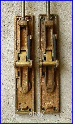 Pair Antique Vintage Bronze Double Door Flushbolt Sliding Slide Latch Lock Bolt