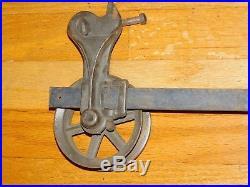 Pair Vtg Cast Iron Industrial Wheel Sliding Barn Wood Door Hardware Track Roller