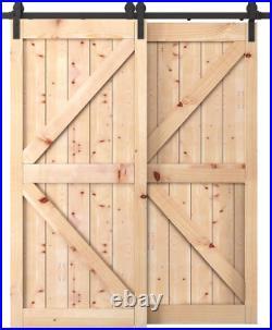 Penson & Co. 6.6 FT Bypass Sliding Barn Door Hardware Kit Double Wood Doors One