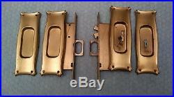 R & E Sliding Pocket Door Lock Double Recessed Pulls NOS