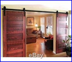 Rail Modern Style Black Barn Wood 12ft Sliding Door Closet Hardware Track Set