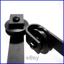 Rustic 6.6FT/201cm Rails Track & Roller for Wood Sliding Barn Door Hardware Kit