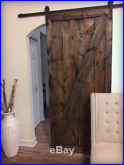 Rustic Barn Door Solid Wood Z-Style Espresso (With Sliding Track and Hardware)