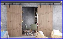 Rustic Black Bent Straight Ceiling Mount Double Sliding Barn Door Track Hardware