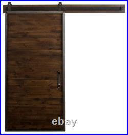 Rustica Hardware 36 x 84 Mountain Modern Dark Brown Wood Sliding Barn Door NEW
