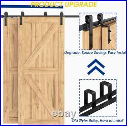 SMARTSMITH 8ft Bypass Barn Door Hardware Kit, Upgraded Bypass Sliding Door Track