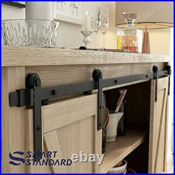 SMARTSTANDARD 5FT Super Mini Double Door Cabinet Sliding Barn Hardware Kit -for