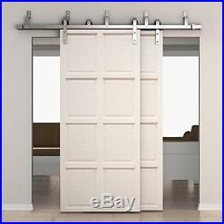 SMARTSTANDARD 6.6ft Bypass Double Door Sliding Barn Door Hardware Stainless S