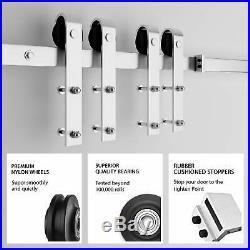 SMARTSTANDARD 6.6ft Heavy Duty Bypass Stainless Sliding Barn Door Hardware Kit