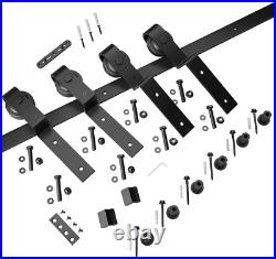 SMARTSTANDARD 8 Feet Bypass Sliding Barn Door Hardware Kit Single Track Bypass