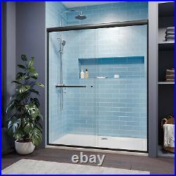 SUNNY SHOWER Double Sliding Shower Doors 58.5 60 W x 72 H in. Black Hardware