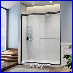 SUNNY SHOWER Semi-Frameless Double Sliding Shower Door Matte Black Hardware