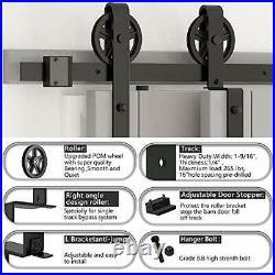 Skysen 7.5FT Heavy Duty Sliding Barn Door Hardware Single Track Bypass Double