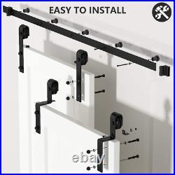 Skysen 8FT Heavy Duty Sliding Barn Door Hardware Single Track Bypass Double Door