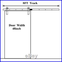 Sliding Barn Door Hardware Track Kit 8ft Rails Roller for Interior Barn Door