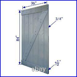 Sliding Barn Door Track Hardware Kit 36 in. X 84 in. DIY Wood Dark Gray Finish